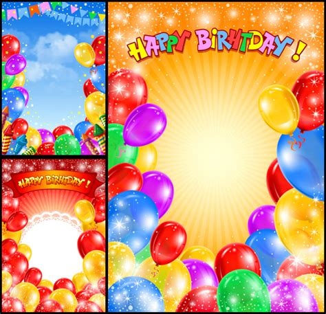 Happy Birthday Backgrounds by Invitation Vector Graphics