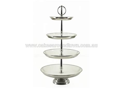 hire  tier cupcake stand white enamel
