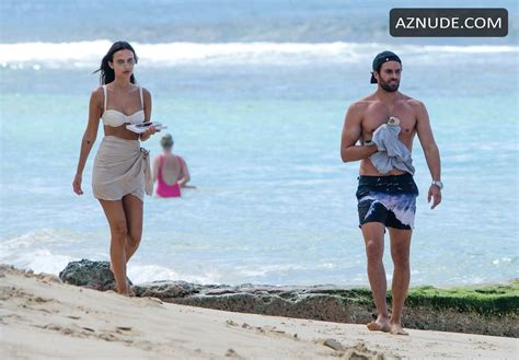 Lucy Watson Sexy Takes A Walk On The Beach In Barbados