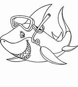 Coloring Shark Baby Pages Mouth Drawing Open Sheets Snorkeling Print Printable Adults Gear Cool Sharks Diving Goes Getcolorings Getdrawings Game sketch template