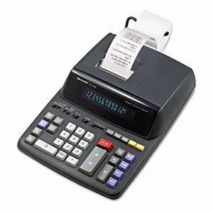 Sharp EL2196BL Two Color Printing Calculator BlackRed