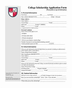 sample college application form 7 free documents in pdf With scholarship forms template