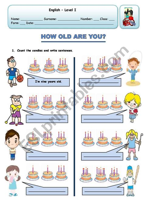 how are you esl worksheet by xani 352 | 130815 1 HOW OLD ARE YOU