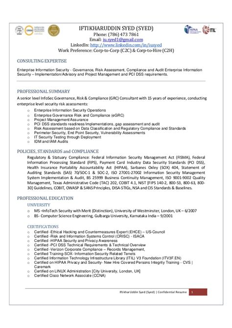 Data Governance Analyst Resume by I Syed Sr Consultant Enterprise Information Security