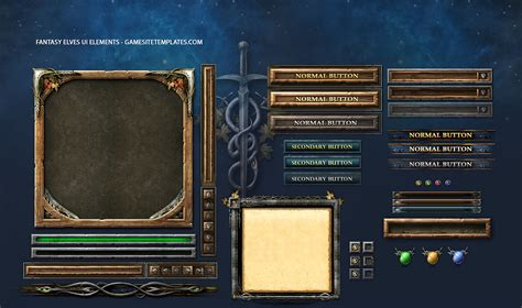 website templates fantasy fantasy elves game ui template