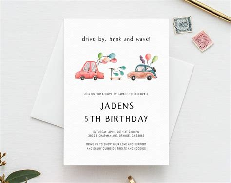 Drive By Birthday Parade Invitation Printable Drive By