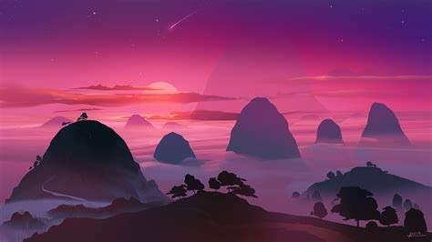 Vector Wallpaper Laptop by Artwork Illustration Mountains Sunset Sky