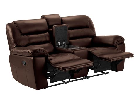 sofa with two recliners devon small sofa with manual recliners 2 tone brown leather