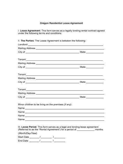 oregon rent  lease template  templates