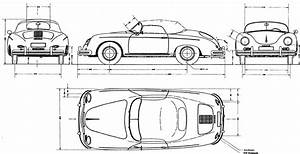 1956 Porsche 356a Speedster Roadster Blueprint