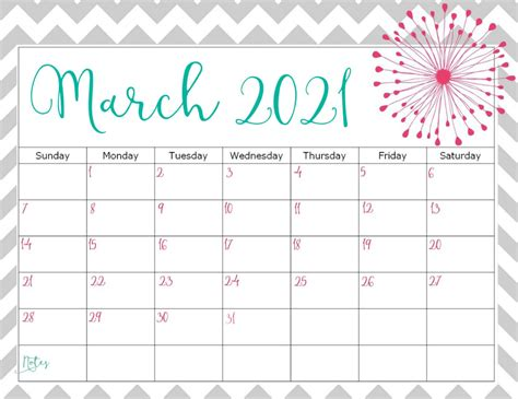 printable cute march  calendar template images set