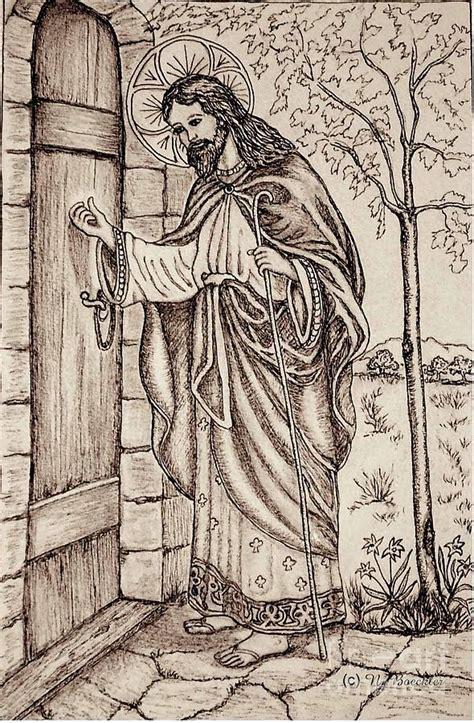 christ knocking   door drawing  norma boeckler