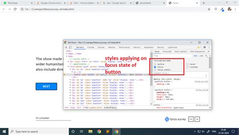 border focus state button agent chrome showing google applied dev checked tool found