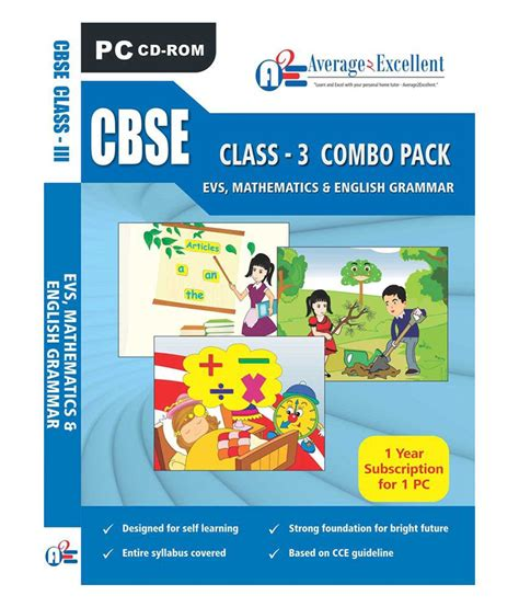 Cbse Class 3 Evs,mathematics, English Grammar Educational Cd Roms By Average2excellent Buy Cbse