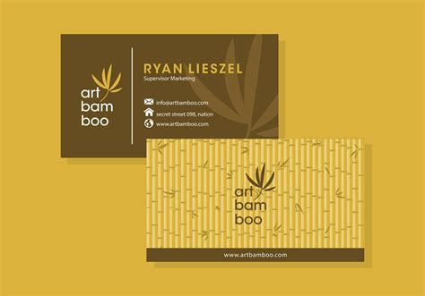 bamboo business card template  vector