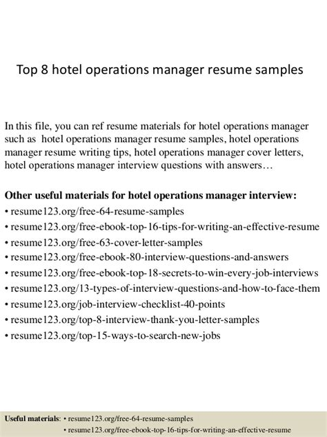 Hotel Operations Resume Sles by Top 8 Hotel Operations Manager Resume Sles