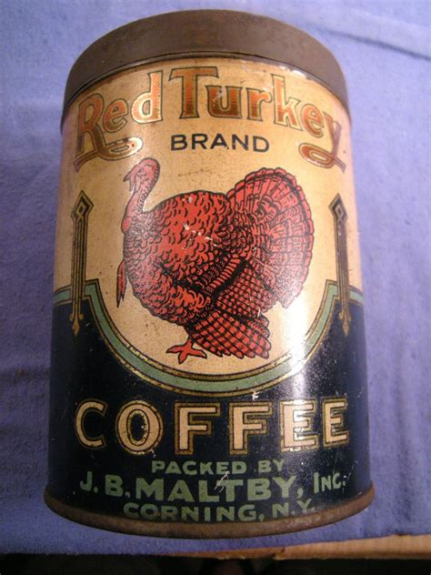 vintage red turkey brand coffee tin   maltby corning ny