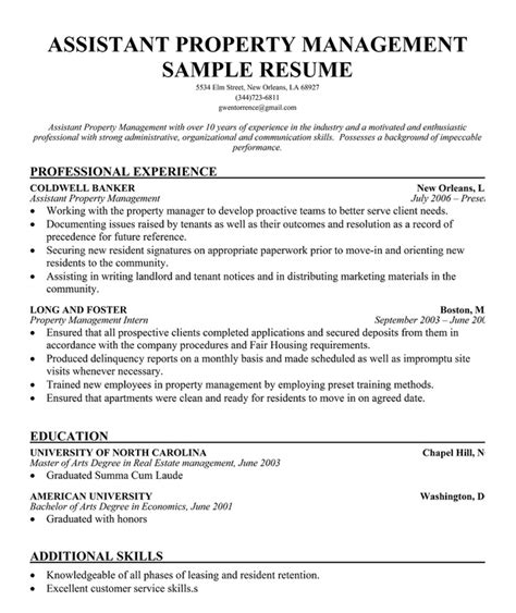 assistant property manager resume sle assistant manager