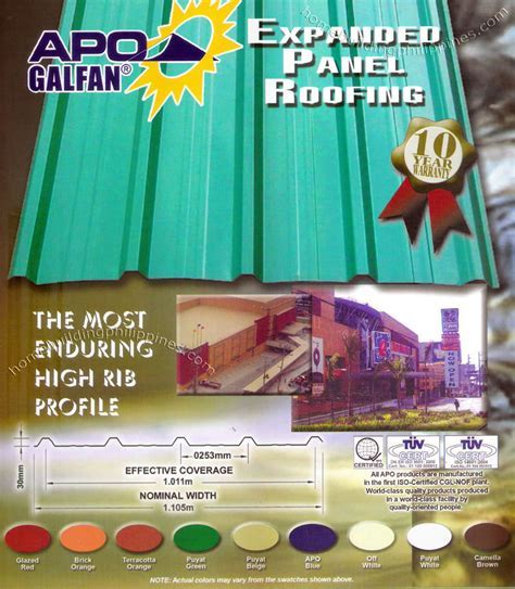 Apo Galfan Expanded Panel Profiled Steel Roofing Philippines