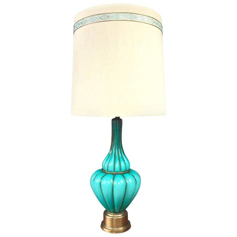Coloured Table Lamps by Monumental Turquoise Colored Murano Glass And Brass Table