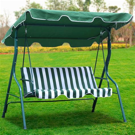 3 person outdoor patio garden swing cushioned canopy