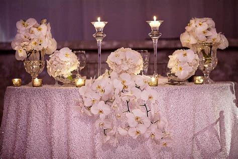 White Orchid Sweetheart Table Wedding Reception Table