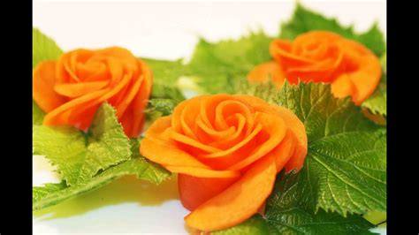 vegetable decorations carrot rose food decoration youtube