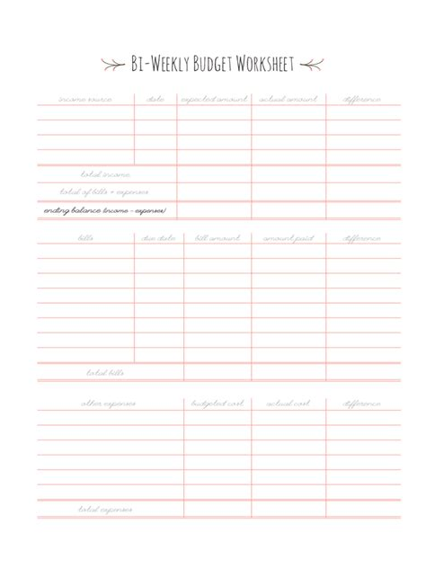 Biweekly Budget Template  3 Free Templates In Pdf, Word, Excel Download