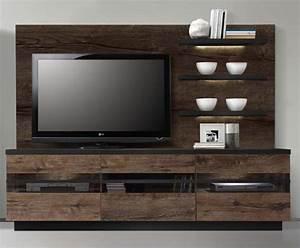 Meuble Tv Etagere : meuble tv gm etag res abro chene marron chene noir ~ Teatrodelosmanantiales.com Idées de Décoration