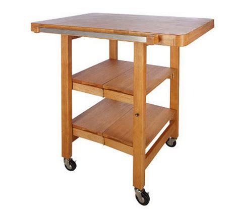 folding kitchen island cart folding island rectangular kitchen cart w butcher block style top page 1 qvc com