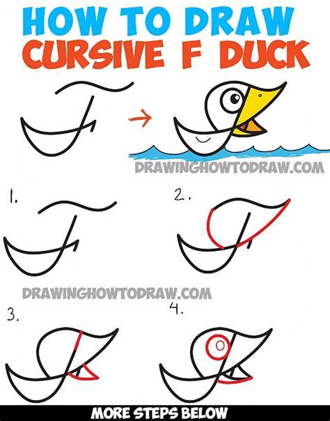 How To Draw Cartoon Duck On Water From Cursive Letter F  Drawing Tutorial For Kids Drawing