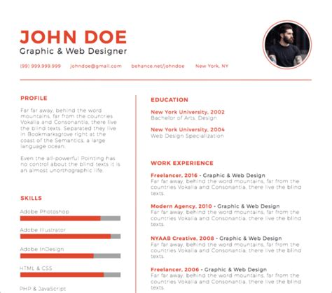 Illustrator Resume by 30 Best Free Illustrator Resume Templates In 2019
