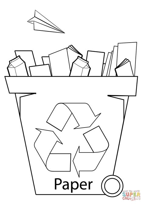 coloring paper paper recycling bin coloring page free printable