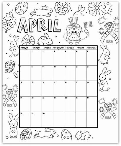 Coloring Pages Calendar Printable April Monthly Calendars