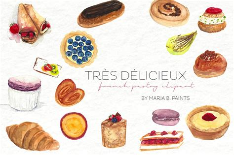 Pastry Clipart Watercolor Clip Pastry Illustrations