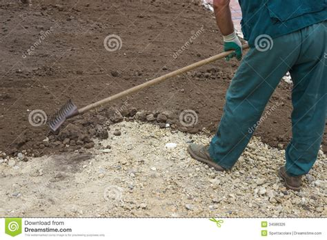 yard leveling work 2 stock photo image of fertilize