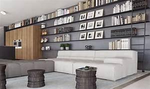 Bibliothèque Murale Design : appartement avec grande biblioth que murale ~ Teatrodelosmanantiales.com Idées de Décoration