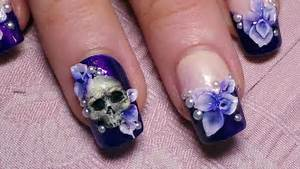 Howto d skull flowers nail art tutorial