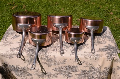 france mm set   graduated french vintage copper pans  pinnacle  modern