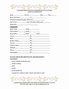 7 best images of printable wedding planner contract With free wedding contract forms