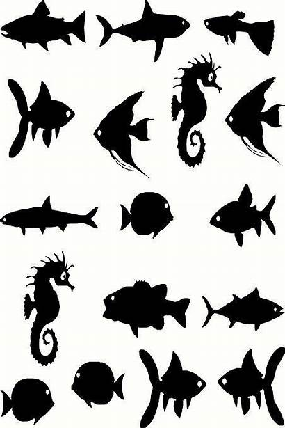 Fish Silhouette Stencil Stencils Silhouettes Sea Vinyl