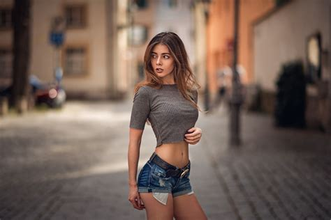 People 1920x1280 Women Model Skinny Jean Shorts Looking