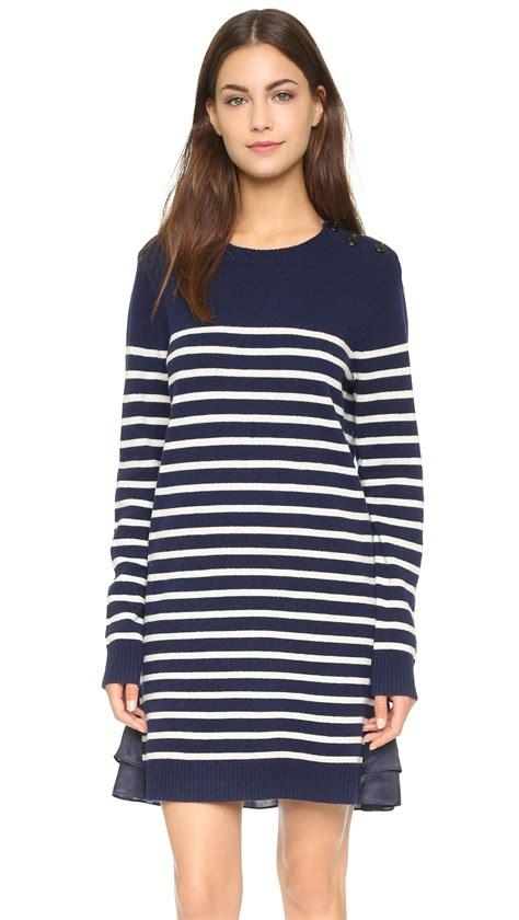 navy sweater dress clu marine striped sweater dress navy in blue lyst
