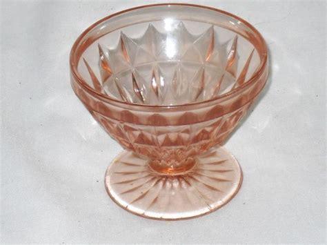 pink depression glass patterns pink depression glass sherbet in windsor diamond pattern vintage glassware and china