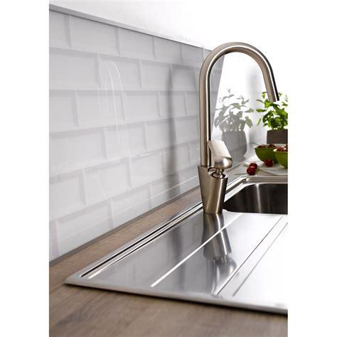 credence cuisine imitation carrelage crédence verre carrelage métro blanc h 45 cm x l 80 cm