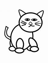 Coloring Cats Pages Cat Drawing Simple Children Very Printable Drawings Justcolor sketch template