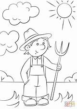 Cartoon Drawing Farmer Pitchfork Coloring Farm Pages Template Drawings Sketch Paintingvalley sketch template