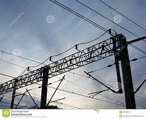 Railroad Overhead Lines. Contact Wire. Stock Photo - Image ...