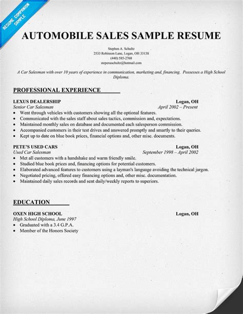 auto sales resume samples example resume sample resume car salesman