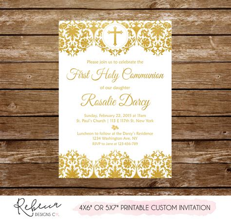 Gold first communion invitation printable girl first
